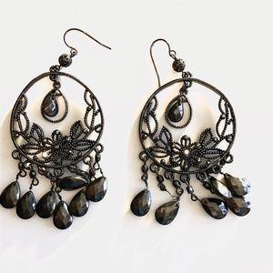 Jewelry - Vintage Inspired black chandelier hoop earrings